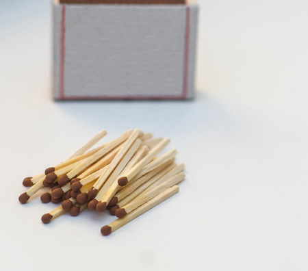 wooden matches close up on white background for design with place for your text