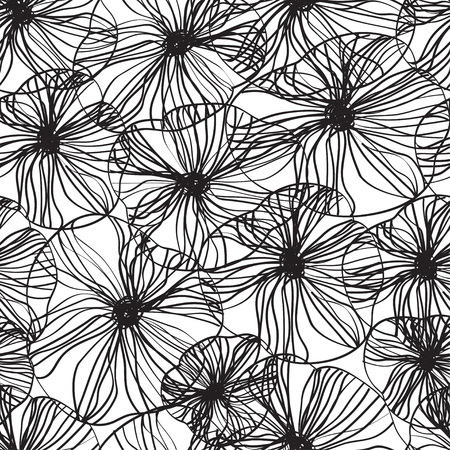 A Seamless abstract floral background, Scandinavian style, symbolic flowers and leaves, abstract Иллюстрация