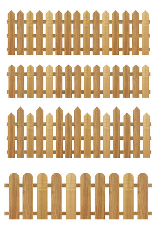 a set of Brown wooden fences isolated on a white background,