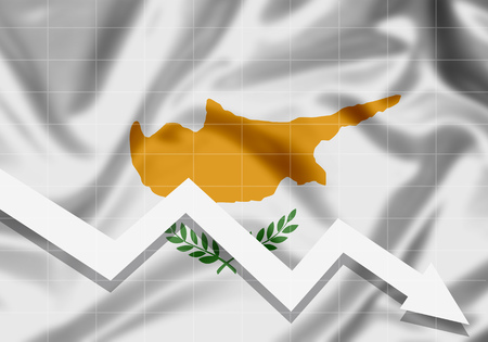 EU Cyprus flag down arrow, the concept of failures