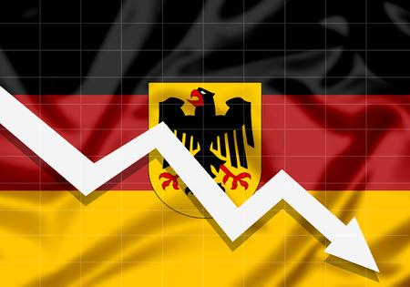 EU Flag Germany down arrow, the concept of failures