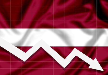 EU Latvia flag down arrow, the concept of failures