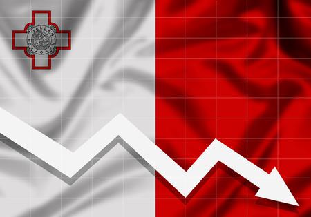EU Flag Malta down arrow, the concept of failures Imagens