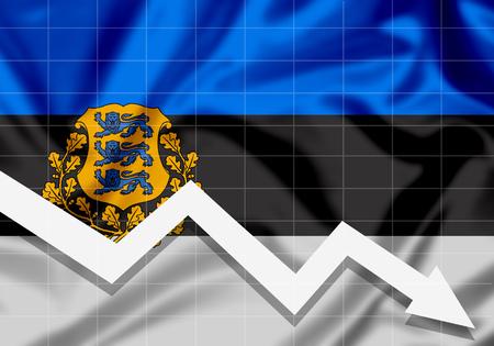 EU Flag Estonia down arrow, the concept of failures Imagens