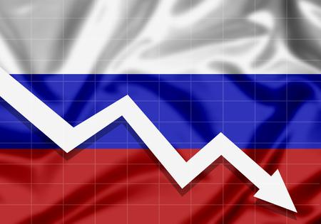 EU Flag Russia down arrow, the concept of failures