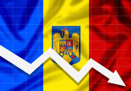 EU flag Romania down arrow, the concept of failures