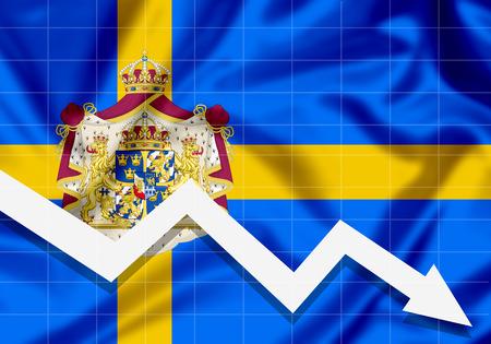 EU Sweden flag down arrow, the concept of failures