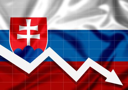 EU flag Slovakia down arrow, the concept of failures