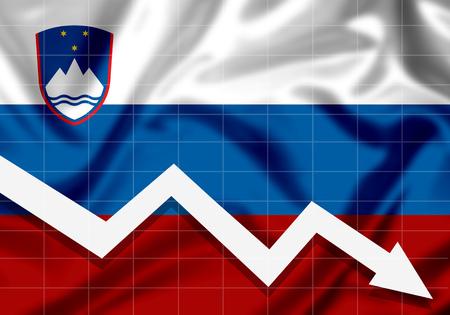 EU Flag Slovenia down arrow, the concept of failures