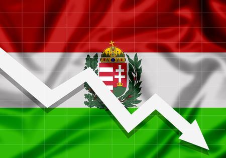 EU Flag Hungary down arrow, the concept of failures Imagens - 100459984