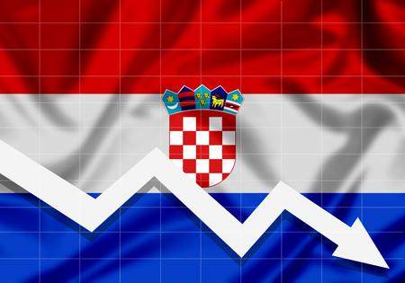 EU Flag Croatia down arrow, the concept of failures Imagens
