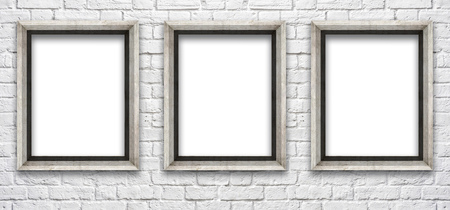 white brick wall with a frame to insert pictures and text