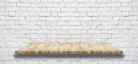 white brick wall with Wooden light shelf