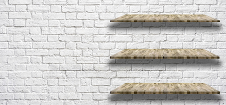 white brick wall with Wooden light shelf, can be used for object placement Imagens