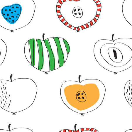 the pattern of colorful apples in the Scandinavian style Ilustração