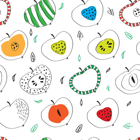 the pattern of colorful apples in the Scandinavian style. used for design.