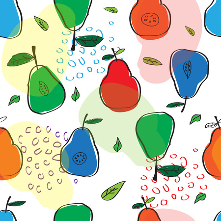 the pattern of colorful pears in the Scandinavian style. used for design and manufacture of clothing.