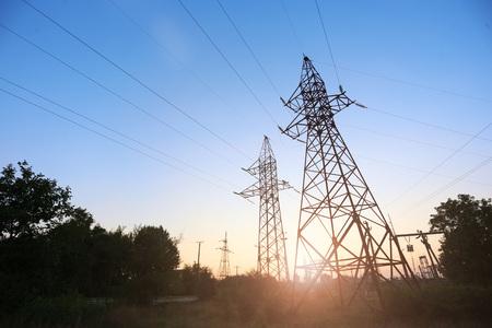 power line at sunset Imagens