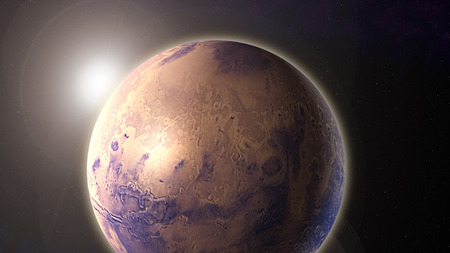 planet Mars in space with sunlight