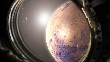 planet Mars in space with sunlight view from the window of the spacecraft