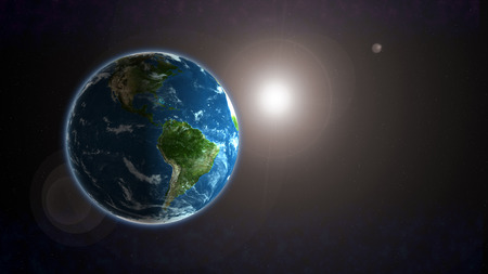 planet earth in space with sunlight Imagens - 106912785