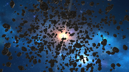flying through asteroids in space, with sunlight
