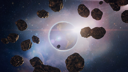flight through the asteroids in space, the planet Saturn, with its bright glare Imagens