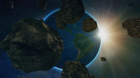 asteroid or meteorite flies in space, on the background of the planet earth