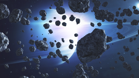 flying through asteroids and meteorites in space Imagens