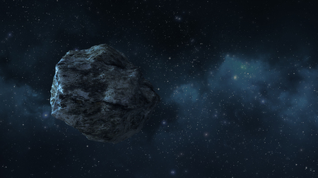 an asteroid or a meteorite flies in space, against the background of nebulae Stock Photo