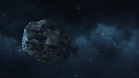 un asteroide o un meteorito vuela en el espacio, en el contexto de nebulosas Foto de archivo