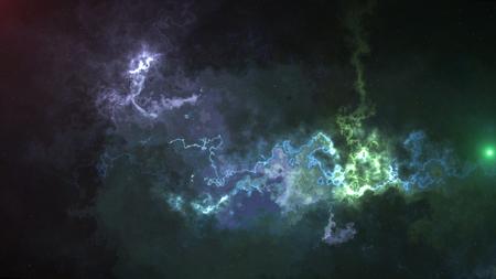 space background, glare, fog, and colored stars a futuristic composition