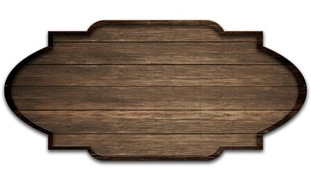 wooden dark plate, isolated on white background