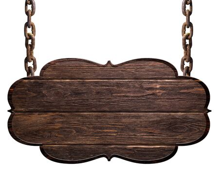 wooden dark plate hanging on chains isolated on white background