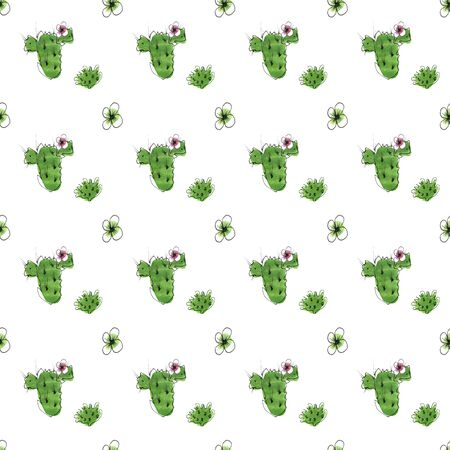 Hand-drawn seamless pattern with watercolor cactus and flowers 스톡 콘텐츠