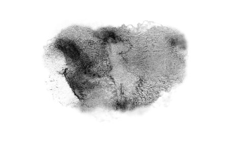 Black grunge watercolor stain hand-drawn isolated on a white background 免版税图像