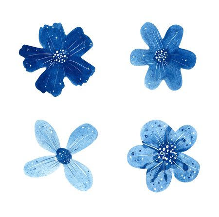 Set of blue watercolor flowers isolated on white background.