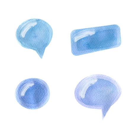 Speak bubbles .Hand Drawn watercolor illustration. Isolated on a white background. 免版税图像