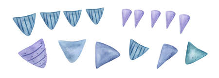 Watercolor Birthday Party .bunting in pastel colors.Hand Drawn watercolor illustration. Isolated on a white background.