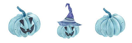 Pumpkin blue watercolor halloween. Autumn pumpkin print for design.Hand Drawn watercolor illustration. Isolated on a white background.