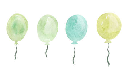 Watercolor Pastel Balloons.Happy Birthday Illustration.Hand Drawn watercolor illustration.Isolated on a white background. 免版税图像