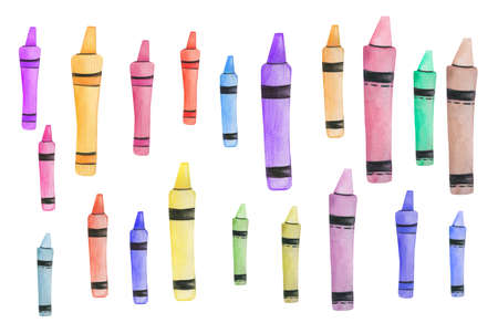 Back to school.Watercolor Crayons.Hand Drawn watercolor illustration.Isolated on a white background. 免版税图像