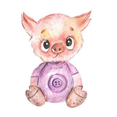 Funny pig .Cute baby piggy Watercolor little animals.Isolated on a white background.