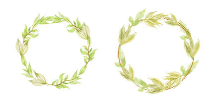 Watercolor autumn frame. Wreath made of hand drawn autumn leaves and flowers. Greeting card or Invitation 免版税图像