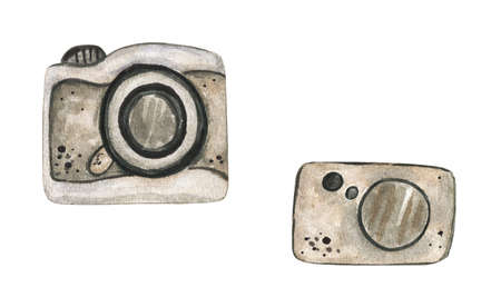 Vintage watercolor camera. Hand Drawn watercolor illustration..Isolated on a white background. 免版税图像