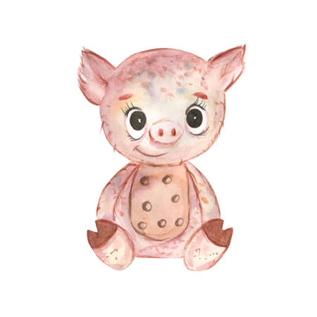 Cute baby piggy .little animals.Hand Drawn watercolor illustration.Isolated on a white background.