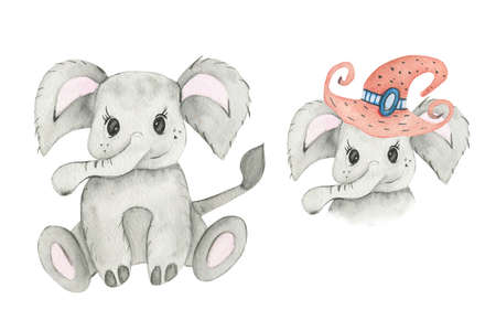 Cute baby elephant animal for kindergarten, nursery, children clothing, pattern.Hand Drawn watercolor illustration.Isolated on a white background.