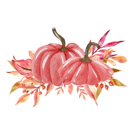 Watercolor Pink Halloween Pumpkin.Hand Drawn watercolor illustration.Isolated on a white background. 免版税图像