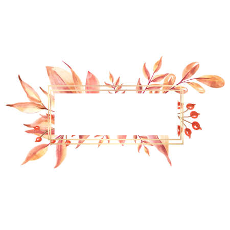 Banner with watercolor autumn leaves.Watercolor hand painted. Isolated on a white background.