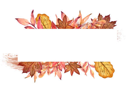 Watercolor painted autumn leaves with white paper banner. Isolated on a white background. Archivio Fotografico